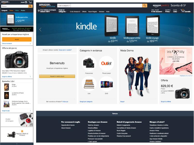 immagine confronto tra sito mobile e desktop di amazon